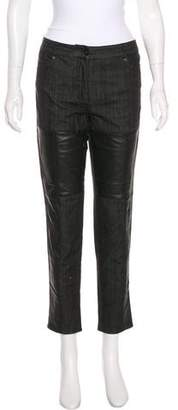 Yigal Azrouel Cut25 by Mid-Rise Leather-Paneled Jeans