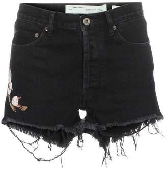 Off-White logo-pocket floral-embroidered denim shorts