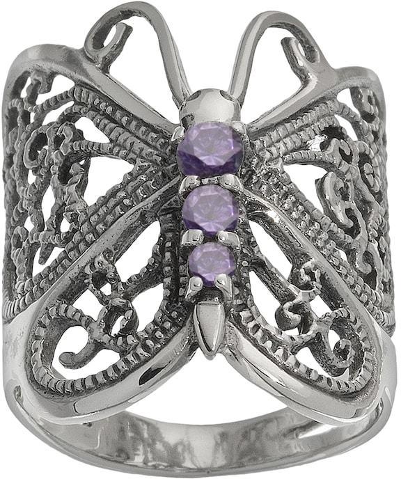 Kohl's Sterling Silver Purple Cubic Zirconia Butterfly Ring