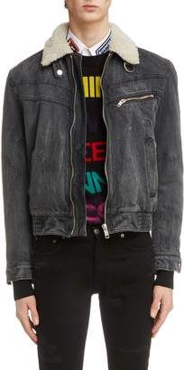 Givenchy Denim Bomber Jacket with Faux Shearling Lining