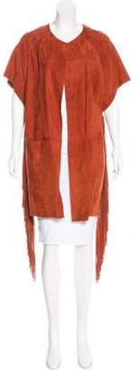 Yves Salomon Leather Fringe-Accented Coat