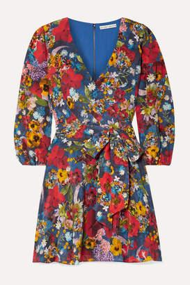 Alice + Olivia Alice Olivia - Kerri Floral-print Silk Crepe De Chine Wrap-effect Mini Dress - Blue