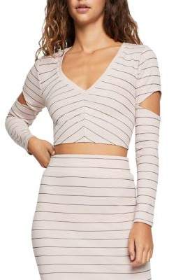 BCBGeneration Pinstripe Cut-Out Cropped Top