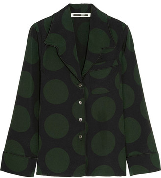 McQ Alexander McQueen - Polka-dot Crepe Shirt - Forest green $450 thestylecure.com