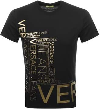 Versace Crew Neck Foil Logo T Shirt Black