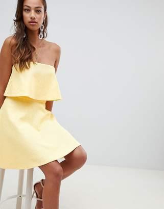 Asos DESIGN Bonded Lace Mini Skater Dress