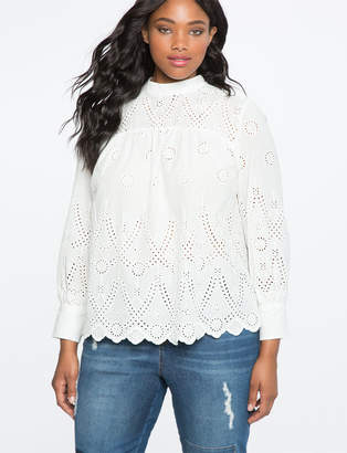 ELOQUII Embroidered Peasant Blouse