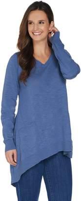 Logo By Lori Goldstein LOGO by Lori Goldstein Slub V-Neck Sweater with Asymmetric Hem