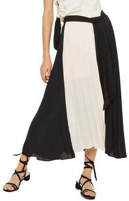 Topshop Colorblock Pleated Midi Skirt