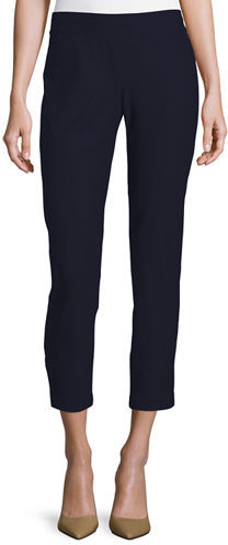 Eileen Fisher Washable Stretch-Crepe Ankle Pants, Midnight