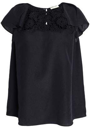 Kate Spade Baja Bound Embroidered Crepe Blouse