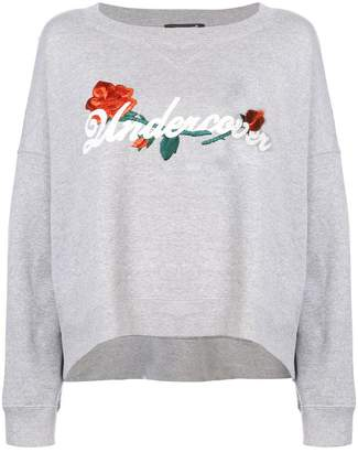 Undercover embroidered curved hem sweatshirt