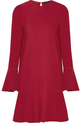 Theory - Marah Pleated Crepe Mini Dress - Red $415 thestylecure.com