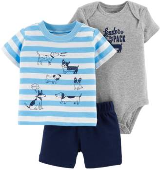 """Carter's Baby Boy Leader Of The Pack"""" Bodysuit, Dog Graphic Tee & Shorts Set"""