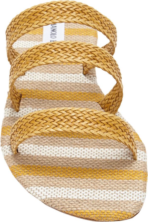 Manolo Blahnik Ontera Triple-Band Flat Sandals