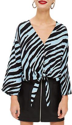 Topshop Zebra Print Tie-Front Blouse