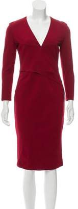 Emilio Pucci Long Sleeve Midi Dress Red Long Sleeve Midi Dress