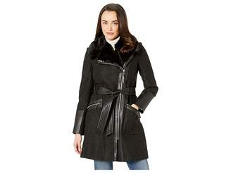 Via Spiga Asymmetrical Black/White Speckled Herringbone Belted Wool Coat with Faux Fur and Faux Leather Detail