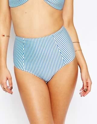Asos DESIGN Mix and Match Seersucker Stripe High Waist Bikini Bottom