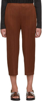 Pleats Please Issey Miyake SSENSE Exclusive Brown Pleated Wide-Leg Trousers