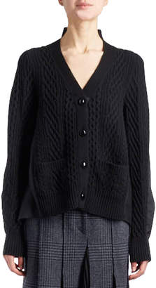 Sacai V-Neck Button-Front Cable-Knit Cardigan with Combo Sides
