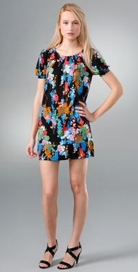 Tibi Coral Reef Blouson Sleeve Dress