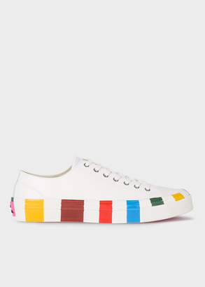 Paul Smith Men's White Leather 'Nolan' Trainers With Multi-Coloured Soles