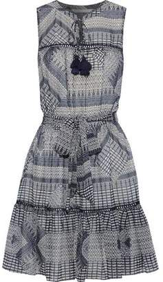 Rebecca Minkoff Open Knit-trimmed Printed Chiffon Mini Dress
