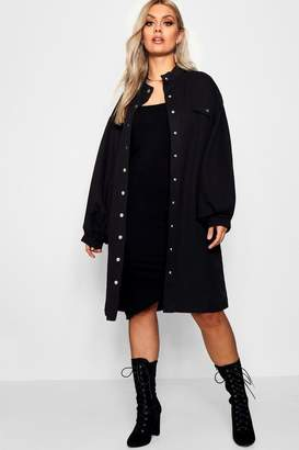 boohoo Plus Oversized Sleeve Trench Coat