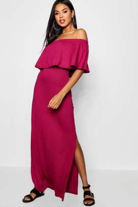 boohoo Off The Shoulder Ruffle Maxi Dress