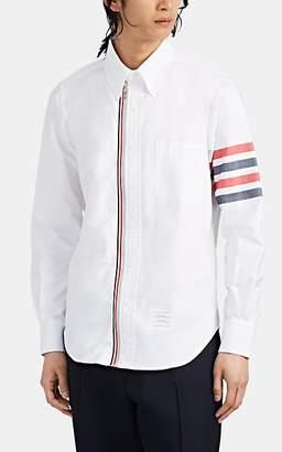 Thom Browne Men's Block-Striped Cotton Oxford Zip-Front Shirt - White