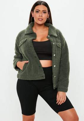 Missguided Curve Green Borg Trucker Jacket