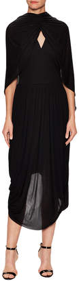 Celine Cape High-Low Dress