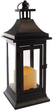 LumaBase Small Classic Black Metal Lantern with Battery Operated Candle and Timer