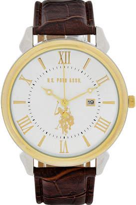 U.S. Polo Assn. USPA Mens Brown Strap Watch-Usc50407