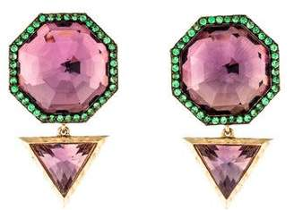 Phillips House 14K Amethyst & Tsavorite Garnet Drop Earrings