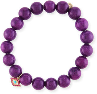 Sydney Evan 10mm Purple Mountain Jade Beaded Bracelet with Ruby & Turquoise Evil Eye Charm