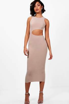 boohoo Tall Cut Out Maxi Slinky Dress