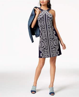 Teeze Me Juniors' Sleeveless Puff-Print Dress