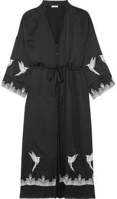 Alannah Embroidered Silk-satin Midi Dress - Black