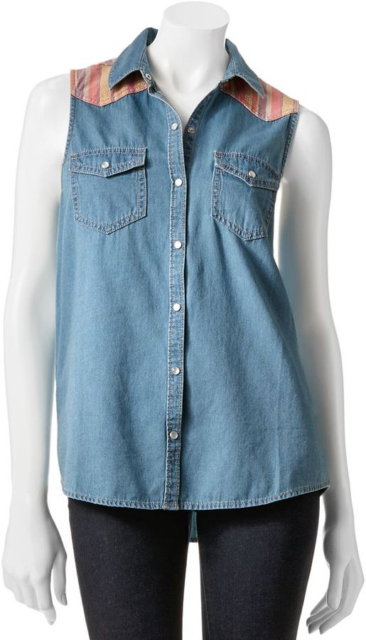 Mudd button-front denim sleeveless top - juniors