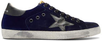 Golden Goose Blue Velvet Superstar Sneakers