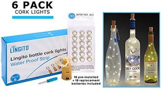 6 White Wine Bottle Cork Lights With 18 Pre-Installed + 18 Replacement Batteries included