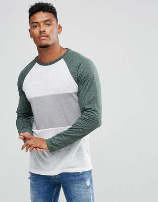 Asos Design Long Sleeve T-Shirt In Linen Look Fabric With Contrast Panel And Sleeves