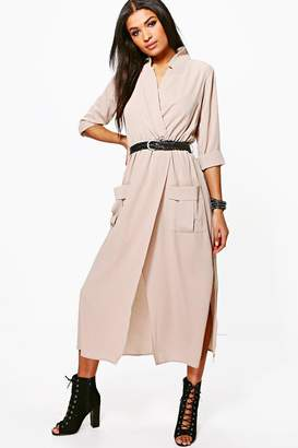 boohoo Long Sleeve Pocket Front Shirt Dress