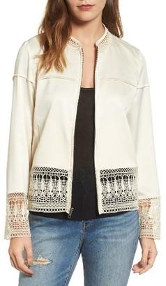 Women's Hinge Lace Trim Bomber Jacket $89 thestylecure.com
