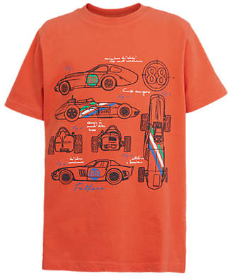 Fat Face Boys' Racing Car Print T-Shirt, Orange