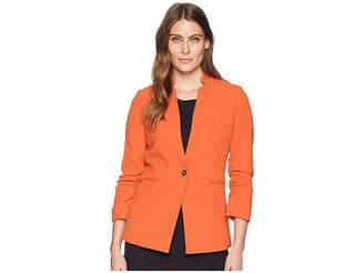 Tahari ASL Crepe One-Button Rouched Sleeve Jacket Women's Coat