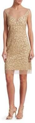 Joanna Mastroianni Beaded Illusion-Neck Cocktail Dress