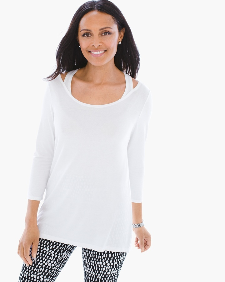 Chico's Zenergy Cold-Shoulder Tunic in Optic White